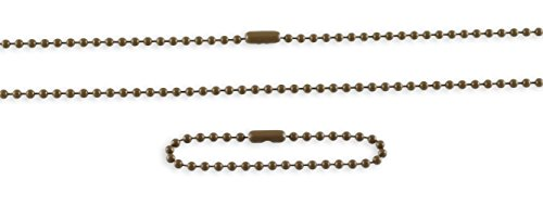 Ball Chain Necklace Set for Dog Tags- Made in USA- Military Issue (Coyote Brown) ()