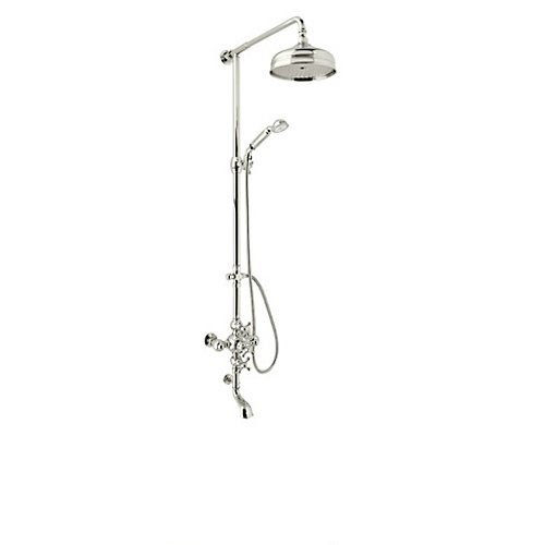 - Rohl AC414X-PN Cisal Shower System with Exposed Thermostatic Valve, Shower Head, Polished Nickel
