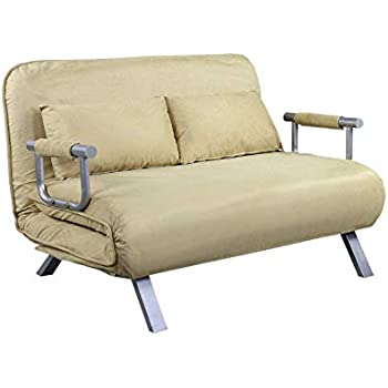 Amazon Com Beige 2 Persons Convertible Loveseat Sofa Bed