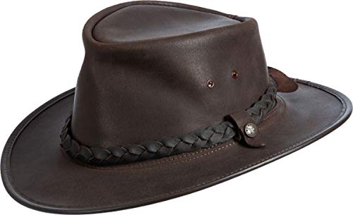 Overland Sheepskin Co Traveler Crushable Leather Outback Hat Dark Chocolate - Hat Cap Outback