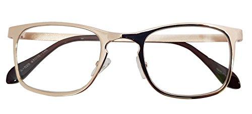 Classic Retro Metal Eyeglasses Frame Clear Lens Top Driving Designer Eyewear (GOLD 0201)