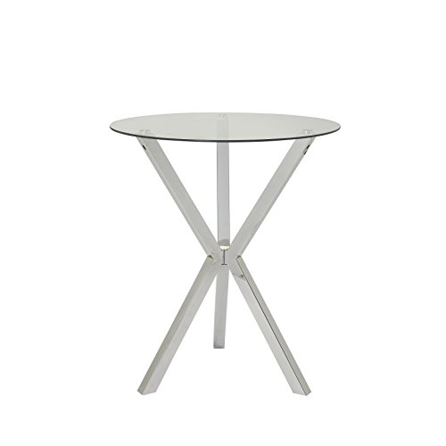 Round Pub Table with Glass Top and X-Shaped Base Chrome and Clear ()
