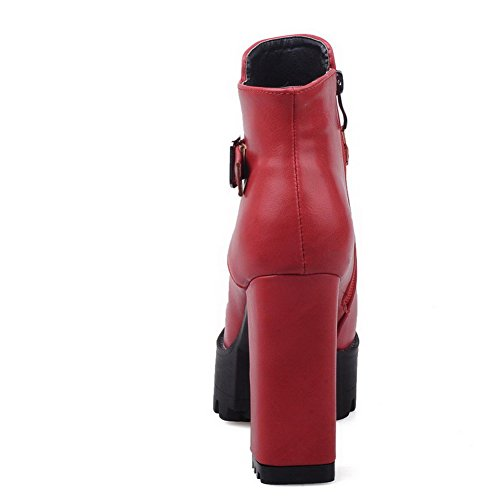 Closed Material Toe Boots High Red Soft Solid Women's Zipper Round WeiPoot Heels wYI8RHxq