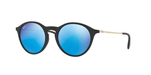 Ray Sunglasses Mirror Ban (Ray-Ban RB4243L Non-Polarized Sunglasses, Rubber Black / Mirror Blue, 49mm)