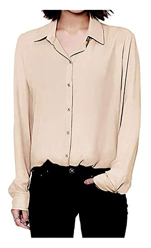 (ARJOSA Women's Chiffon Long Sleeve Button Down Casual Shirt Blouse Top (US L/Asian XXL, Beige))