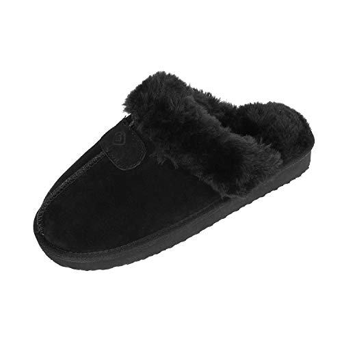 Dreams Slippers (DREAM PAIRS Women's Cozy_05 Black Suede Faux Fur Winter House Slippers Size 7.5-8 M US)