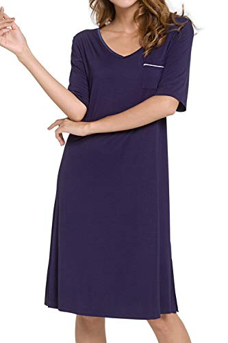 WiWi Women's Soft Bamboo V Neck Nightgowns Short Sleeve Nightshirts S-3XL, Navy, Large