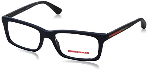 Prada PS02CV Eyeglass Frames TFY1O1-53 - Blue Rubber - Glasses Prada Blue