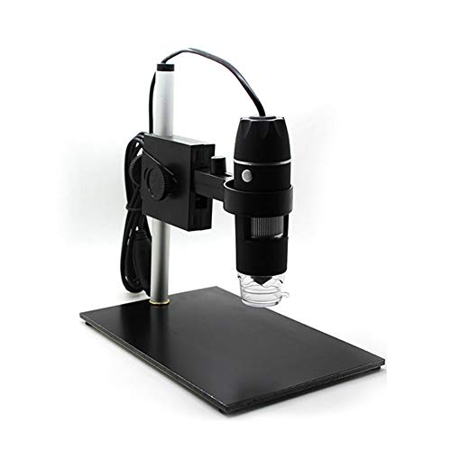 USB 2.0 Digital Industry Microscope, 500X HD Magnification 8 LED Portable Endoscope Zoom Camera Magnifier with Fixed Stand, Compatible with Windows - Fixed Camera Bracket Clear Window