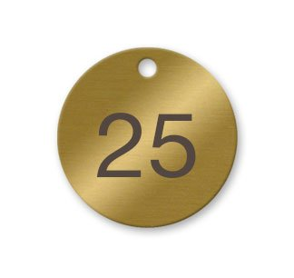 Numbered Solid Brass Valve Tags - Pack of 25 (1-25)