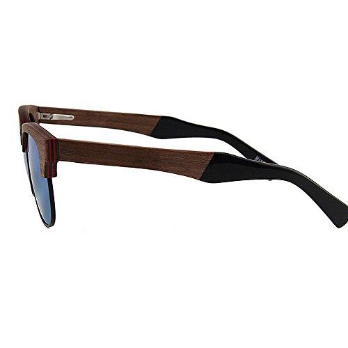 Rimless lunettes main lunettes conduite lunettes de Lentilles polarisées UV femmes protection qualité à miroir bois de de la en plage de plates en soleil soleil Semi soleil lunettes de Vert soleil haute ad Sgfwf46q