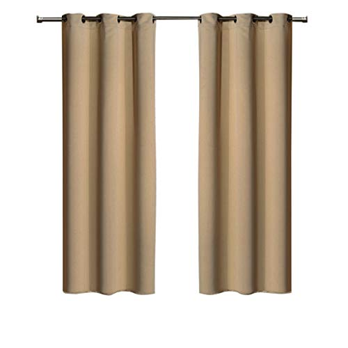 Ghooss Blackout Curtains Thermal Insulated Window Treatment with Grommet for Bedroom/Living Room,Beige,42 x 63 inch,2 Panels ()