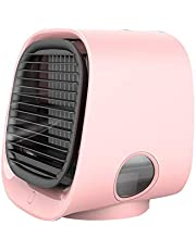 YSHTAN Air Cooling Fan Temperatuur Controle Luchtkoeler Draagbare Mini USB LED Stille Airco Luchtbevochtiger Koeler Anion Koeling Ventilator - Roze