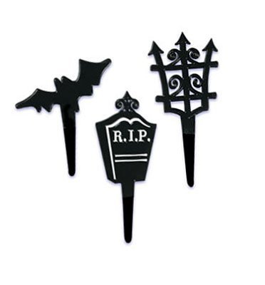 Graveyard Cupcake Picks - 12ct (Graveyard Halloween Cupcakes)
