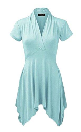 Manicotto Comodi Irregolare Jaycargogo Collo Sportiva Vestito Donna V Solido Luce Blu Bordo na0OZ1wqO
