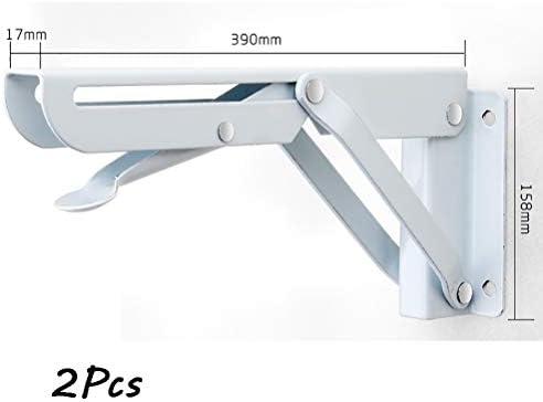 棚受け ネジと2個ヘビーデューティ折りたたみシェルフブラケット、ホワイト折りたたみブラケット、調節可能ウォールは、折りたたみテーブル脚ブラケット、省スペース、簡単にインストールし、美しいと頑丈なマウント (サイズ : 390mm×158mm)