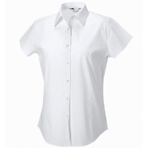 Russell Collection Damen Short Sleeve pflegeleichte anliegendes Stretch-Shirt weiß XS