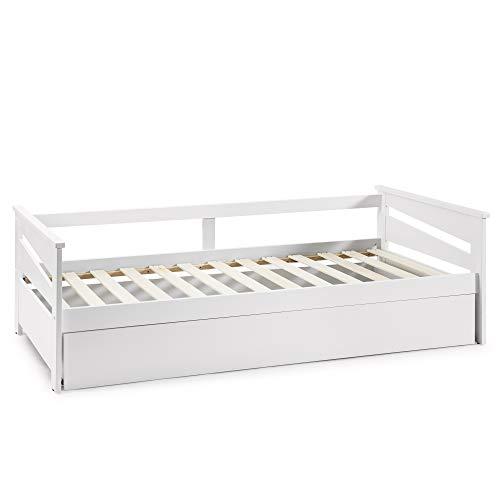 VS Venta-stock Cama Nido Juvenil Emma 90X190, Color Blanco, Dimensiones 199cm (Largo), 105cm (Ancho) y 62cm (Alto)