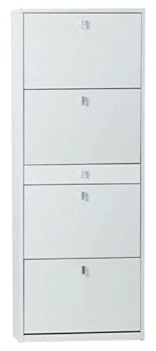 Sarmog A569-White Ash Shoe Rack Collection Shoe Rack with 4 Double Depth Folding Doors, White Ash ()