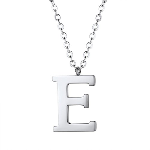 PROSTEEL Initial Letter E Necklace,Alphabet Name Jewelry,Men/Women,Personalized Gift Stainless Steel Letter Pendant Minimalist Layering Layered Necklaces (Stainless Pendant Steel Solid)