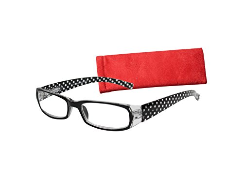 ICU Eyewear Rectangle Polka Dot Reading Glasses with Red Cas
