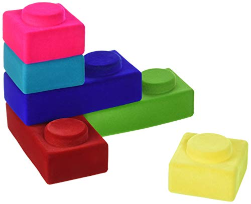 Rubbablox Basix 100% Natural Rubber Foam Blocks for Building Set- Safe Soft Squishy Children's Toy with Fuzzy Tactile Surface.