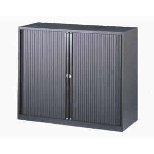 Bisley Rollladenschrank Euro Stahl 2 Fachböden Höhe 1029mm schwarz/schwarz