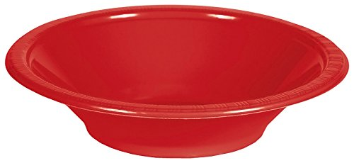 Creative Converting 28103151 Touch of Color Plastic Bowls Party Supplies, 12oz, Classic Red -