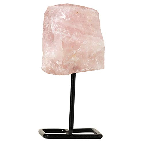 (Beverly Oaks Rose Quartz Crystal Home Decor - Crystal Decor Healing Crystals on Metal Stand - Healing Stones for Love )