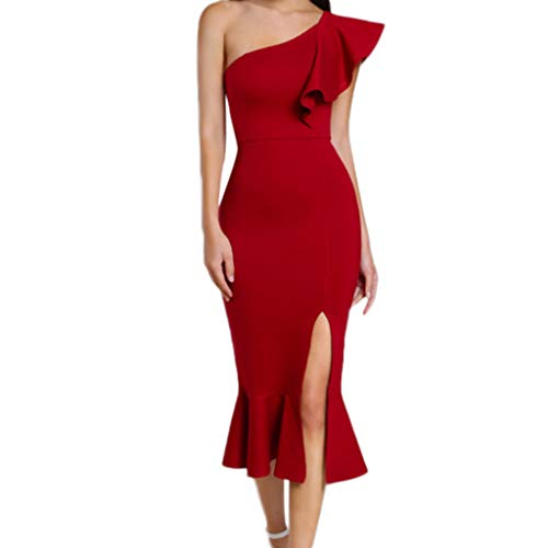 ANJUNIE Women Ruffle One Shoulder Cocktail Dress Party Club Mermaid Pencil Dress(Red,L) (Monograms Hip Mini)