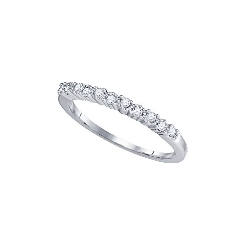 10kt White Gold Womens Round Diamond Band Ring 1/8 Cttw by JawaFashion
