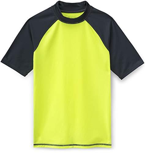 TSLA UPF 50+ Short Sleeve Rashguard Youth Surf Kids Swim Top, Rashguard(bsr15) - Neon Yellow & Charcoal, Large (14)