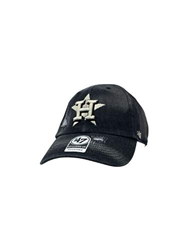 ('47 Houston Astros Brand Clean Up Strapback Hat Adjustable MLB Curve Brim Cap (One Size, Black Dark Horse Destruct))