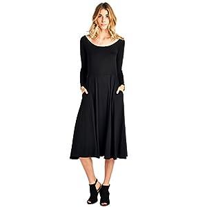 12 Ami Flare Long Sleeve Pocket Midi Dress – Made in USA