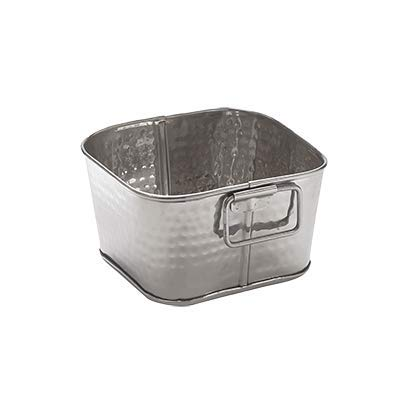 American Metalcraft STH6 Hammered Tub, Square, Stainless Steel, 3-1/4'' Height, 6'' Width, 6'' Length