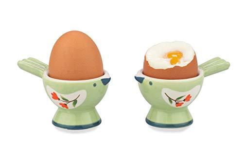 WD- 2 Pcs Cute couple Bird Figurine - Ceramic serve egg cups