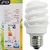 3 x 11 Watt (=55W) Spiral Energy Saving CFL Light Bulbs, E27 Screw Cap Lamps, 700 Lumen, 10 Yea
