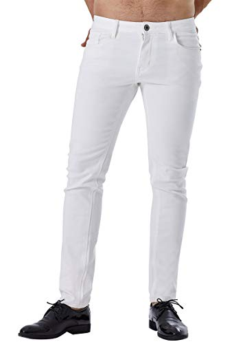 ZADDIC Skinny Fit Jeans Men's Younger-Looking Fashionable Colorful Super Comfy Stretch Slim Fit Tapered Jeans Pants. (White, 32)