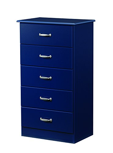 (Lang Furniture Solid Wood 5-Drawer Dresser/Chest with Roller Glides, 16 by 24 by 44-Inch, Indigo Blue)