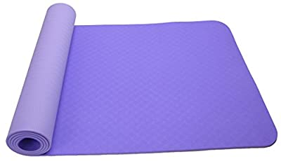 Yoga Mat,Banne 1/4 Inch Anti-Tear Non-slip Multifunctional Eco-friendly TPE Exercise Mat for Pilates Fitness Workout with Carrying Strap(Purple)