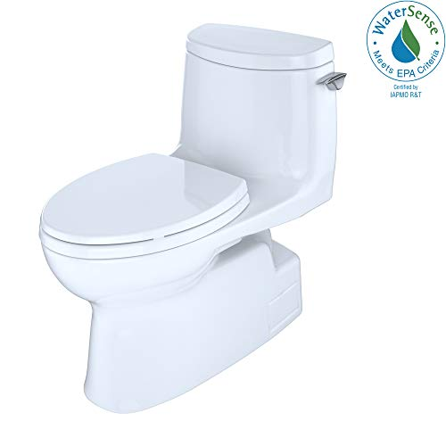 (Toto MS614114CUFRG#01 Carlyle II 1G Elongated One-Piece Toilet, Right-hand Trip Lever, Cotton White)