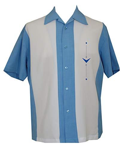 Lucky Paradise Mens Camp Shirt, Vintage Cuban Style Bowling Shirt Belleair ~ Guayabera Dress Shirt Style (Paradise Camp Shirt)