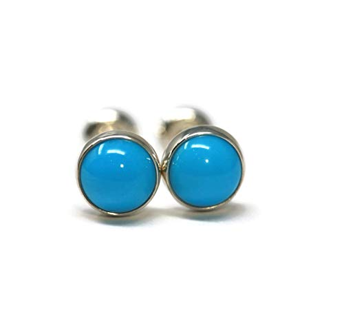 (Genuine Sleeping Beauty Turquoise and Polished Sterling Silver 6mm Stud Earrings)