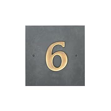Verde Pizarra Casa Número Con Latón Antiguo Dígitos (1-9 ...