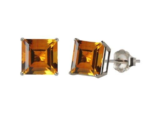 10k White Gold 8mm Square Citrine 4-Prong Stud Earrings