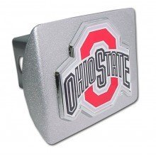 Elektroplate Ohio State University (with Color) Brushed Chrome Hitch Cover