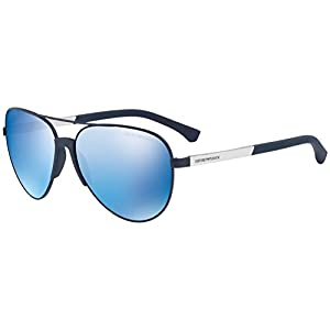 Emporio Armani Men's EA2059 EA/2059 3202/55 Matte Blue Pilot Sunglasses 61mm