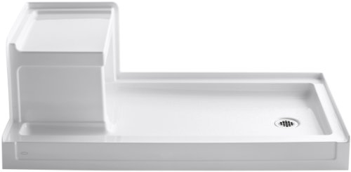 Shower Pans Kohler (Kohler K-1976-0 Tresham 60-Inch by 32-Inch Shower Receptor with Integral Seat and Right-Hand Drain, White)