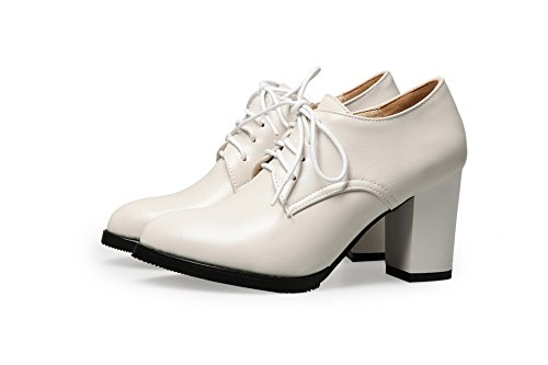 BalaMasa donna Solid lace-up high-heels gomma pumps-shoes, Beige (Beige), 35