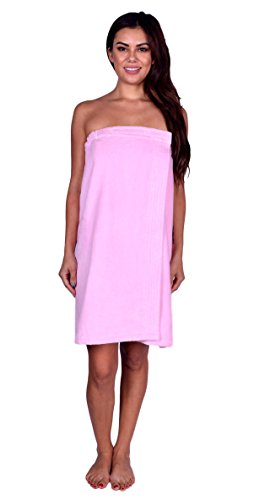 La Calla Women's Bath Wrap -%100 Terry Cotton - Turkish Spa Shower Women Wraps with Adjustable Closure (Light Pink) by La Calla